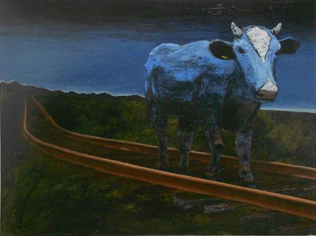 "Babe 'The Blue Ox' at Dusk - oil and acrylic on wood panel 48"" x 36"" w/o frame"