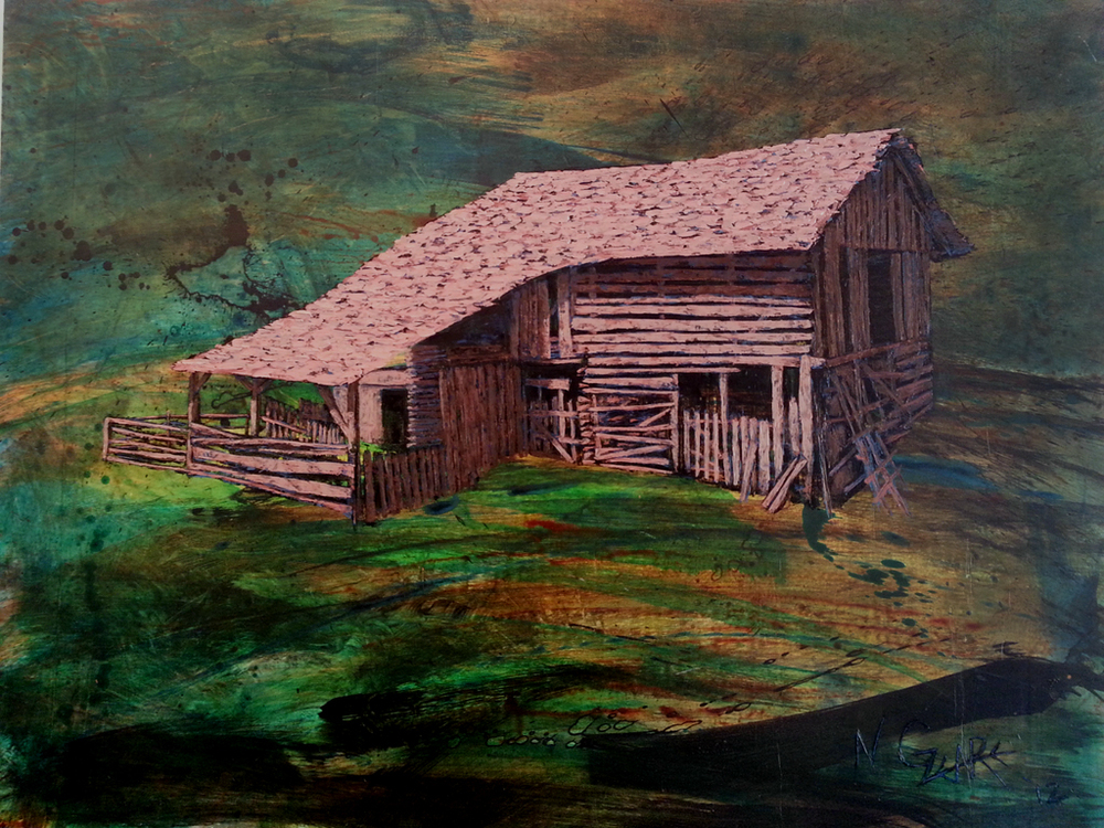 "This Old House - oil and acryilic on wood panel 36"" x 48"" (SOLD)"