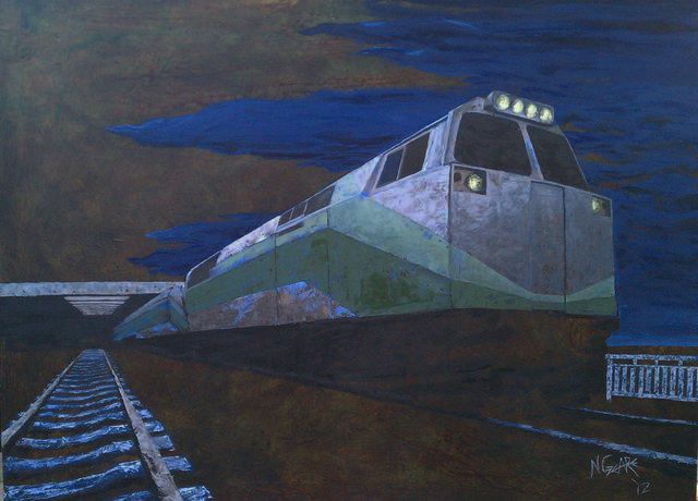 Night Train - oil and acrylic on wood panel (SOLD)