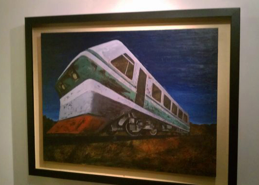 Night Train 2 - oil and acrylic on wood panel (SOLD)