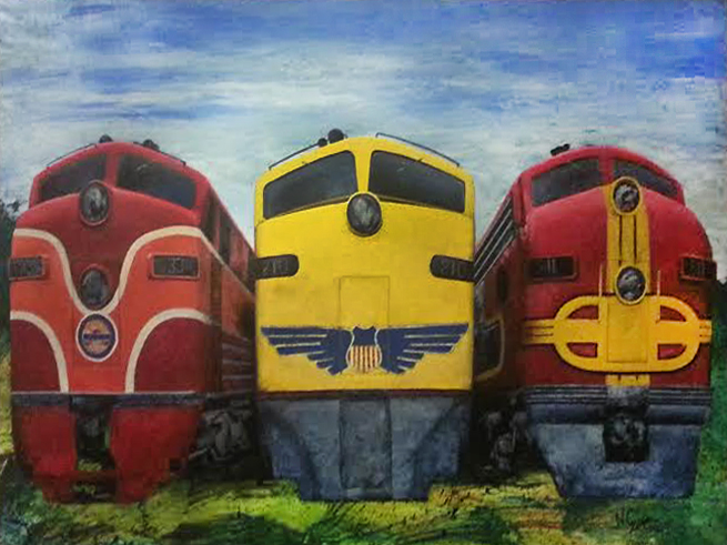 Espee, Uncle Pete, and the Super Chief - oil and acrylic on wood panel  76 3/4 x 50 1/2