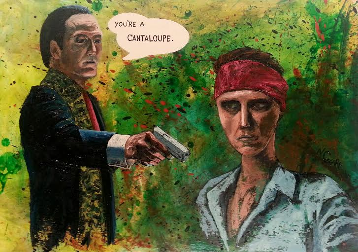 "Walken vs Walken, oil and acrylic on wood panel 32"" x 42"""