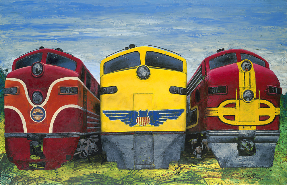 Espee, Uncle Pete, and the Super Chief - Oil and acrylic on wood panel 76 3/4 x 50 1/2 w frame