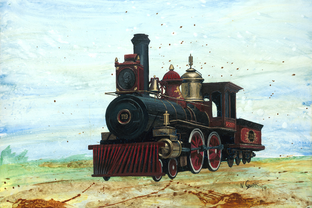 """Union Pacific #119"" - Oil and Acrylic on wood, 24"" x 36"""