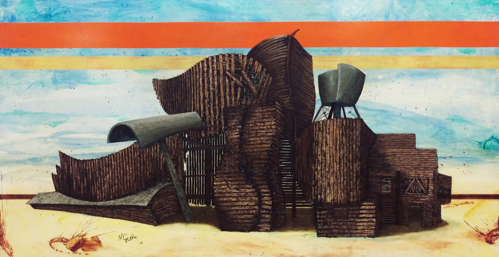 Bilbao Barn 42x84 oil on wood