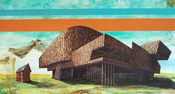 "Zaha Barn 41""x 74"" Oil on wood"