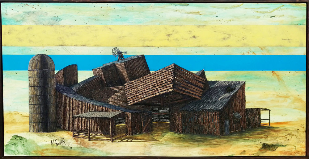"Vitra Barn 45""x86"" Oil on wood"