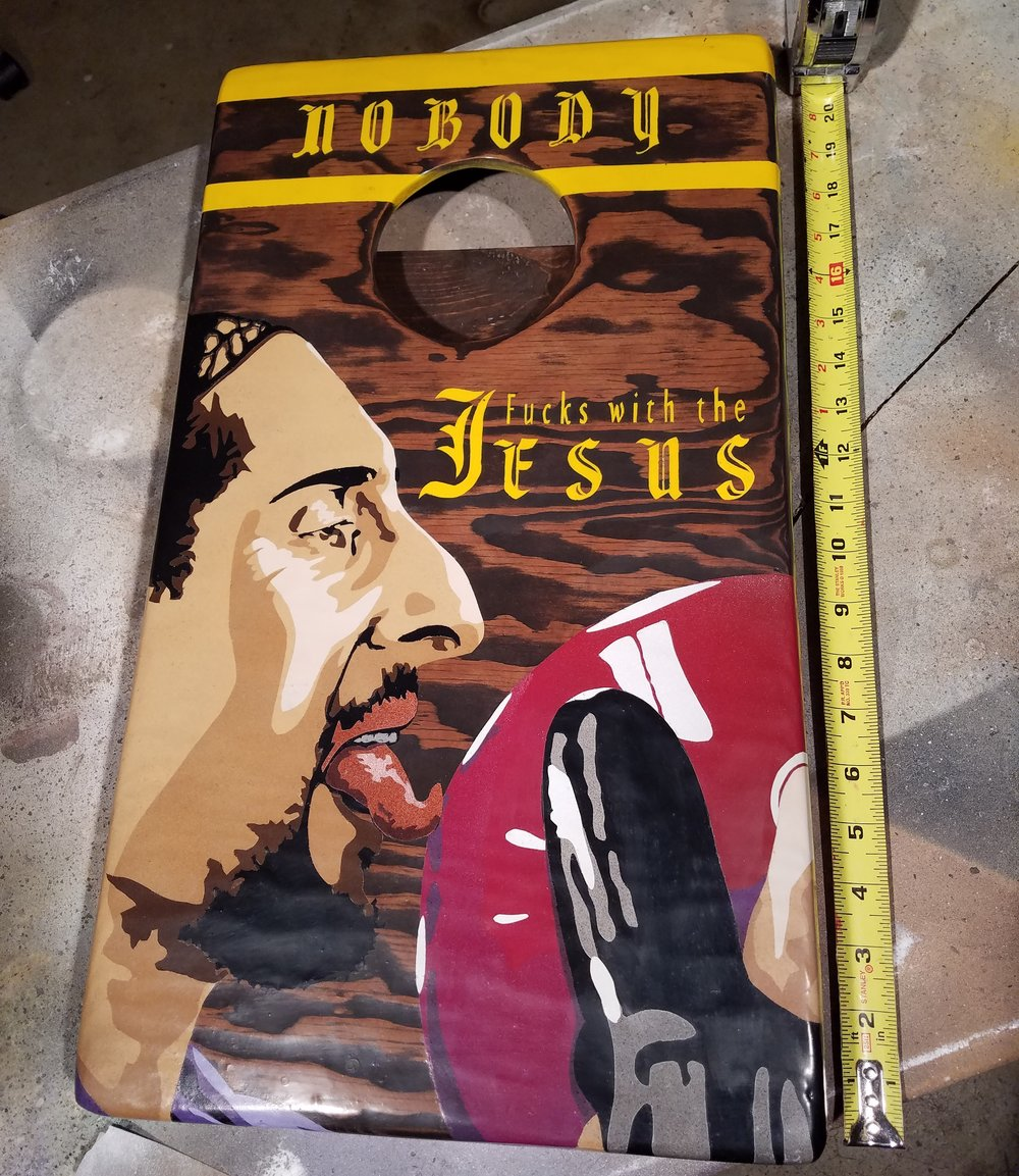 "Mini Jesus, Enamel (spray paint) on wood, 22"" x 12""  SOLD"