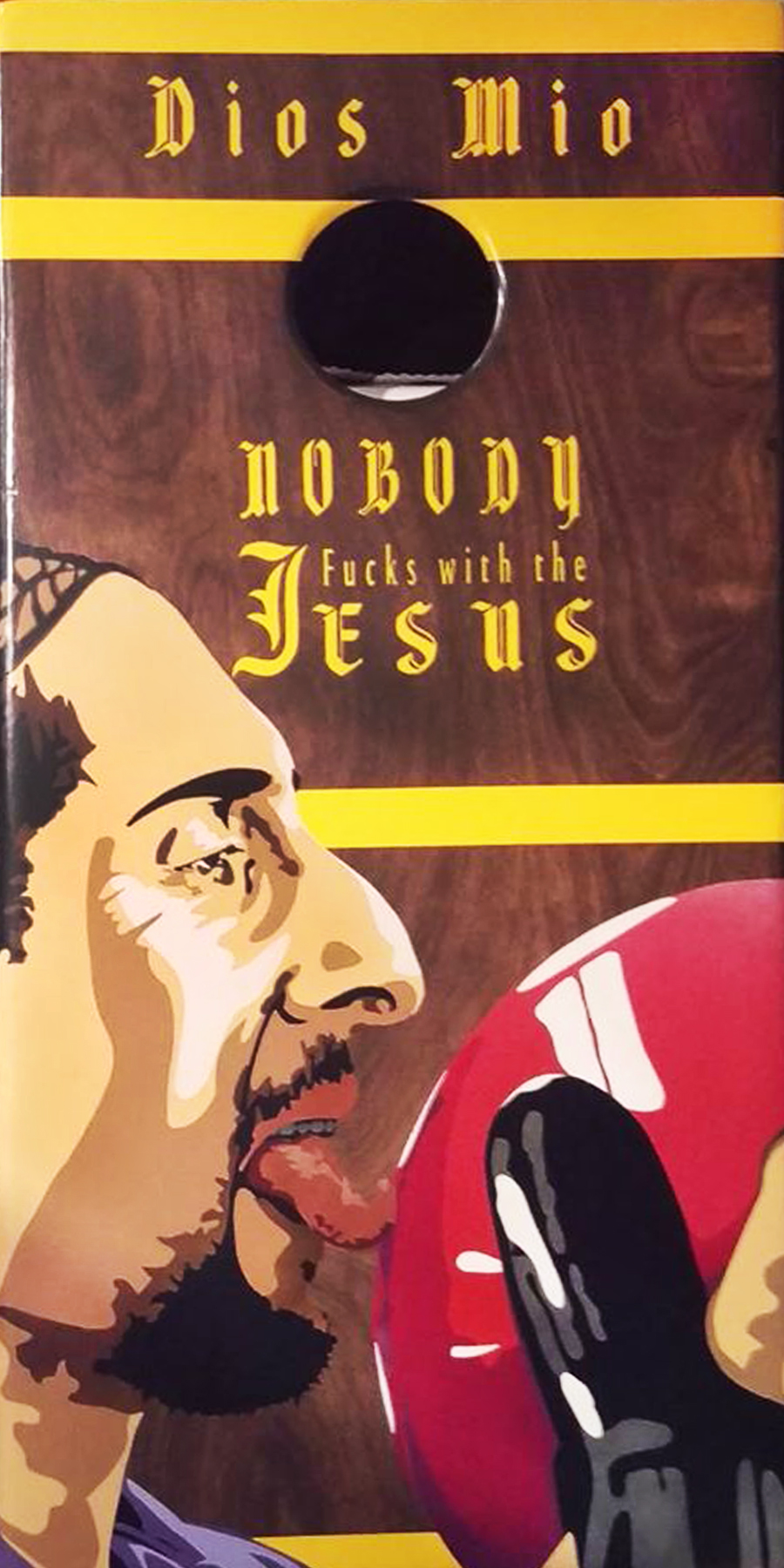 "Nobody Fucks w the Jesus, Enamel (spray paint) on wood, 24"" x 48"" SOLD"