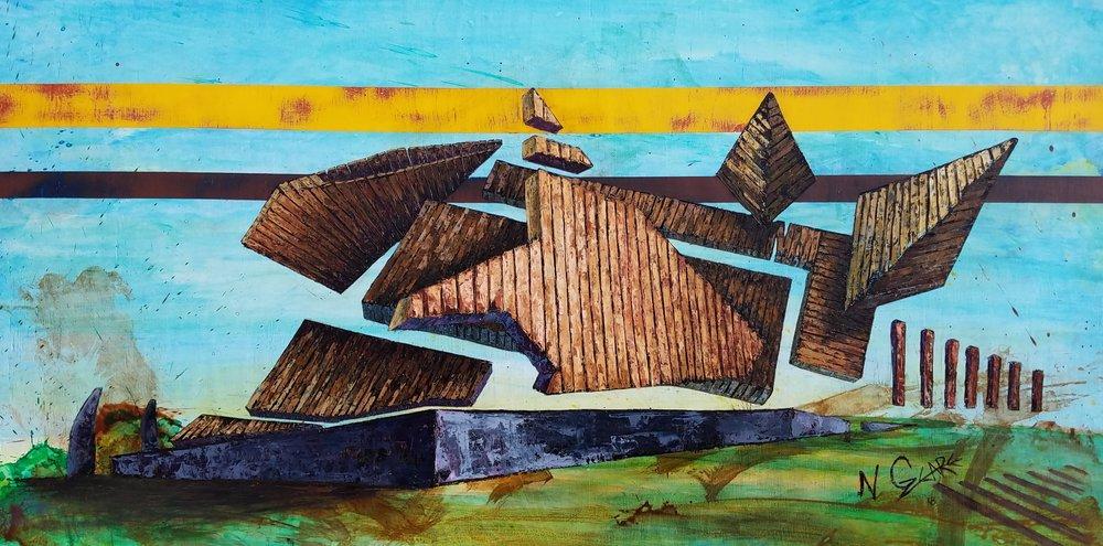 Barn de Confluences 24 x 48 Oil and acrylic on wood