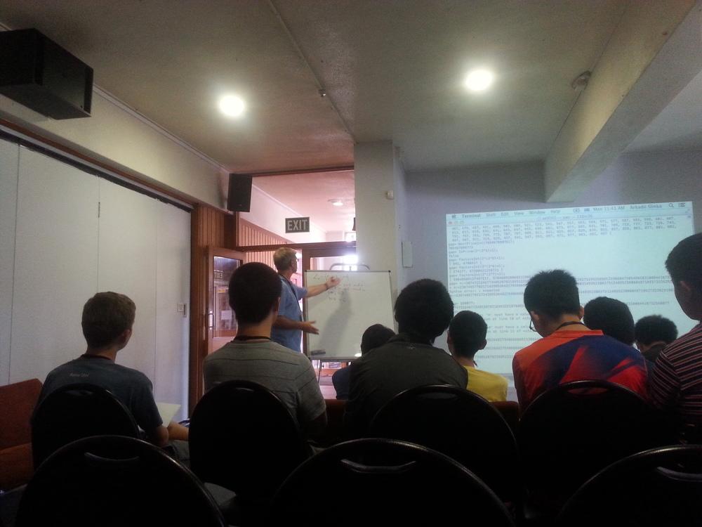 Dr Arkadii Slinko teaching Seniors some modular arithmetics andprimes and talking about doctors
