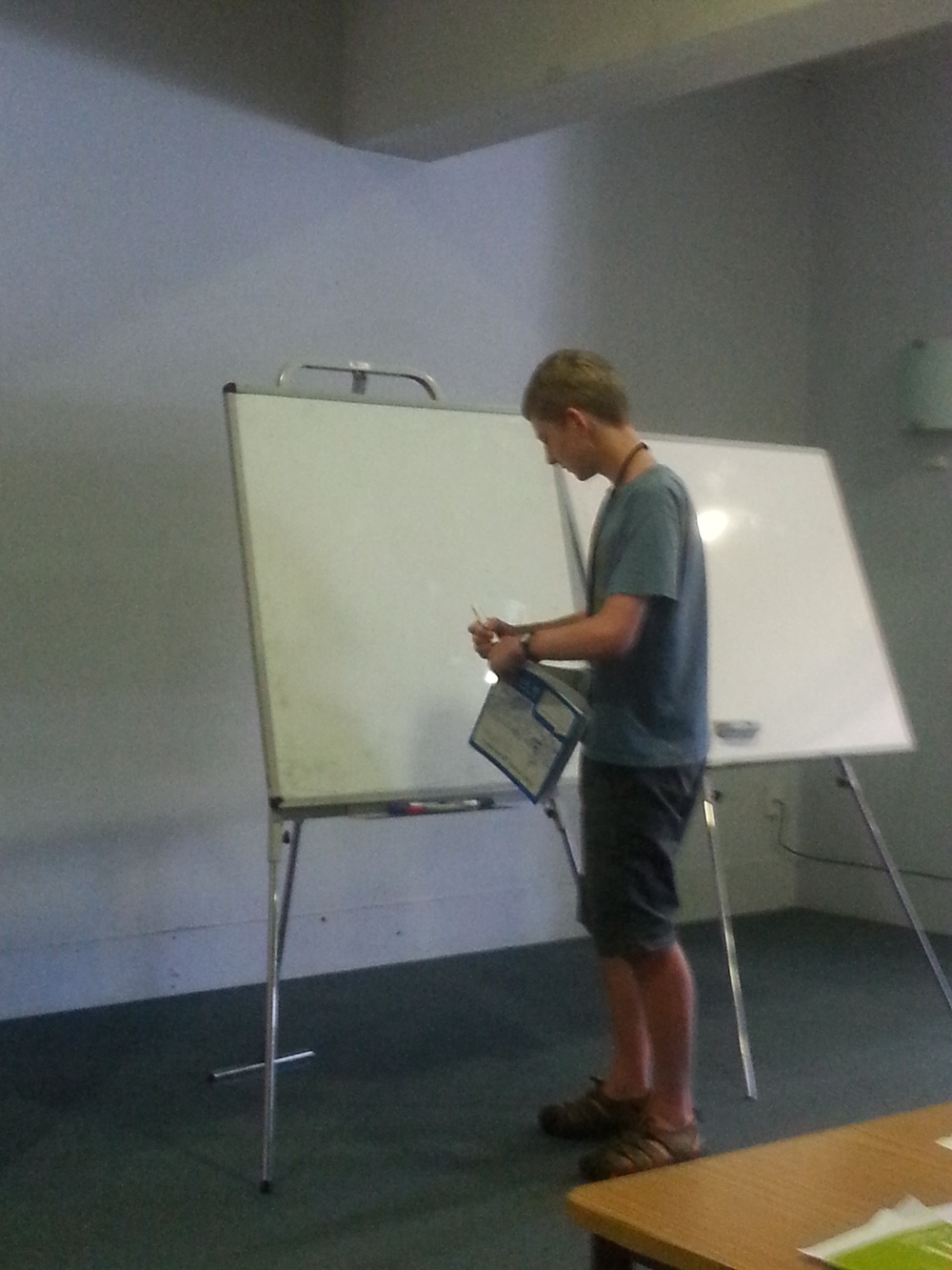 Keiran Lewellen preparing for the explanation of Question 4