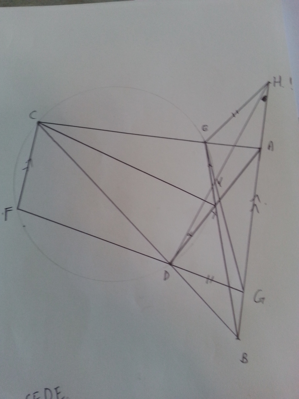 What the... the diagram required to solve Question 8... apparently we had to prove that the intersection of GB and DA connected to point C bisects the angle DCG