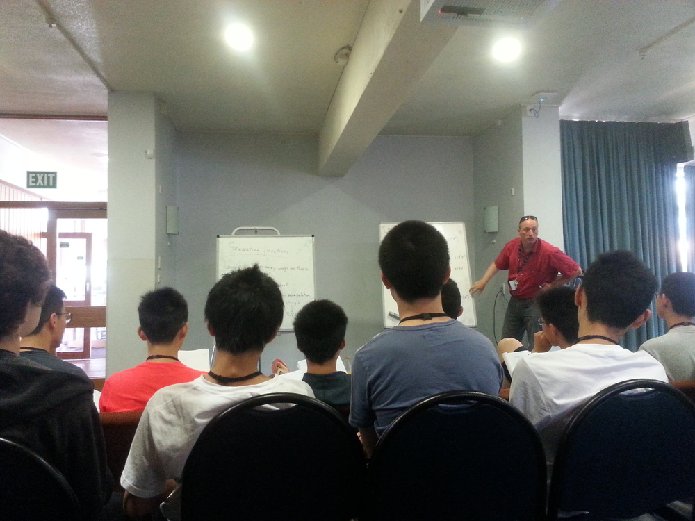 Robin Hankin (standing) lecturing on generating functions