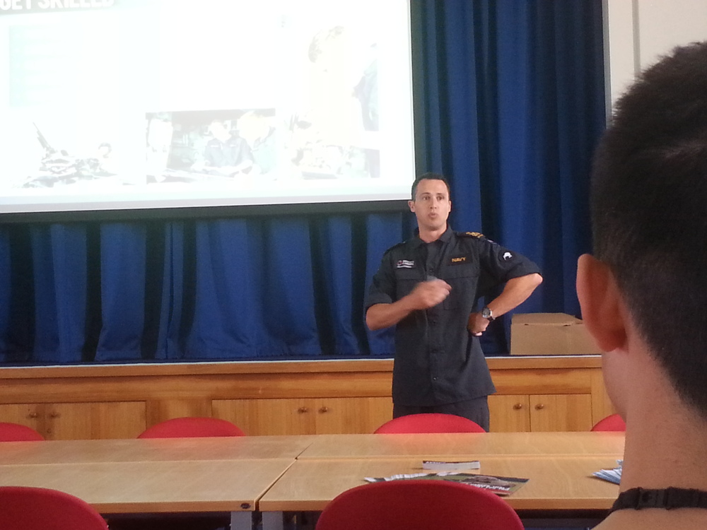 Naval officer Michael who showed us a presentation of navy and what the officers do there