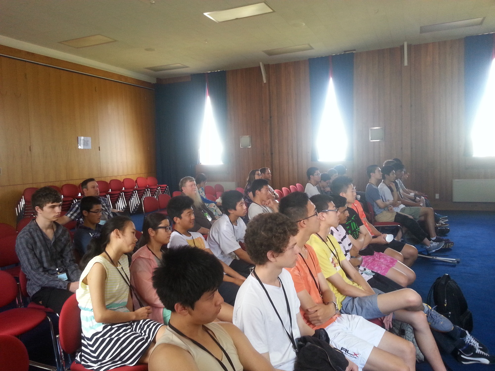 Campers listening to Michael's presentation