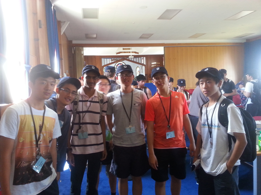 We got a gift of navy caps!! (from left: Yongwhan Shin, Tony Wang, Amay Aggarwall, Hao Jia, George Han, Winston Yao, Brian Qi)