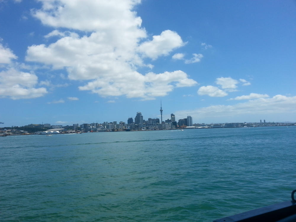 The view of Auckland City from the stern of the ship