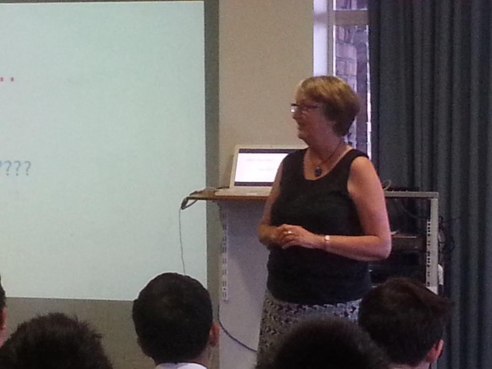 Margot Phillipps introducing IOI to the students
