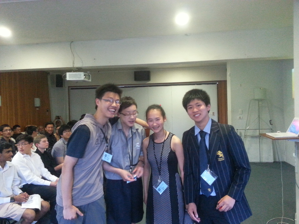 Winners of the puzzle competition (from left: Chris Wan, Edward Chen, Claire Shi, Gary Qian)