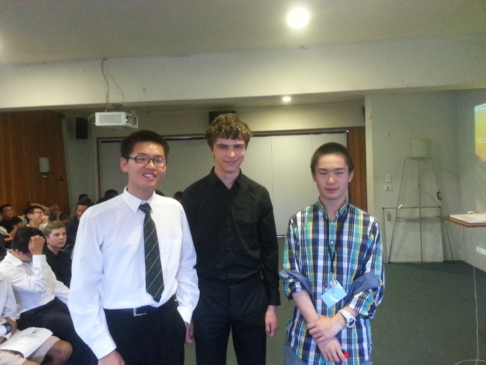 Second equal in the puzzle competition (from left: George Han, Johnny Mottershead, Miles Lee)