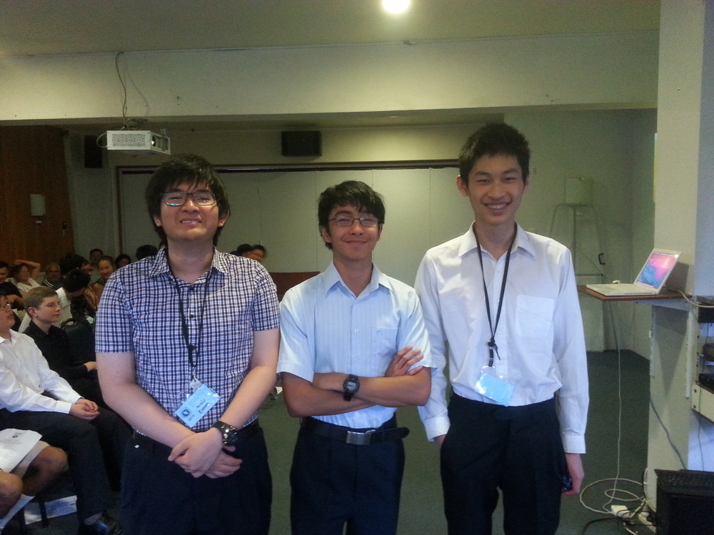 Second equal in the puzzle competition (from left: Xuzhi Zhang, Prince Michael Balanay, Kevin Shen)