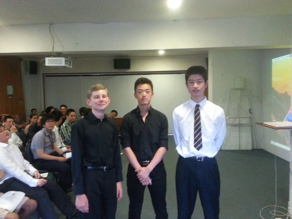 Fourth in the puzzle competition (from left: Keiran Lewellen, Bon-Nyeong Goo, Kevin Lin)