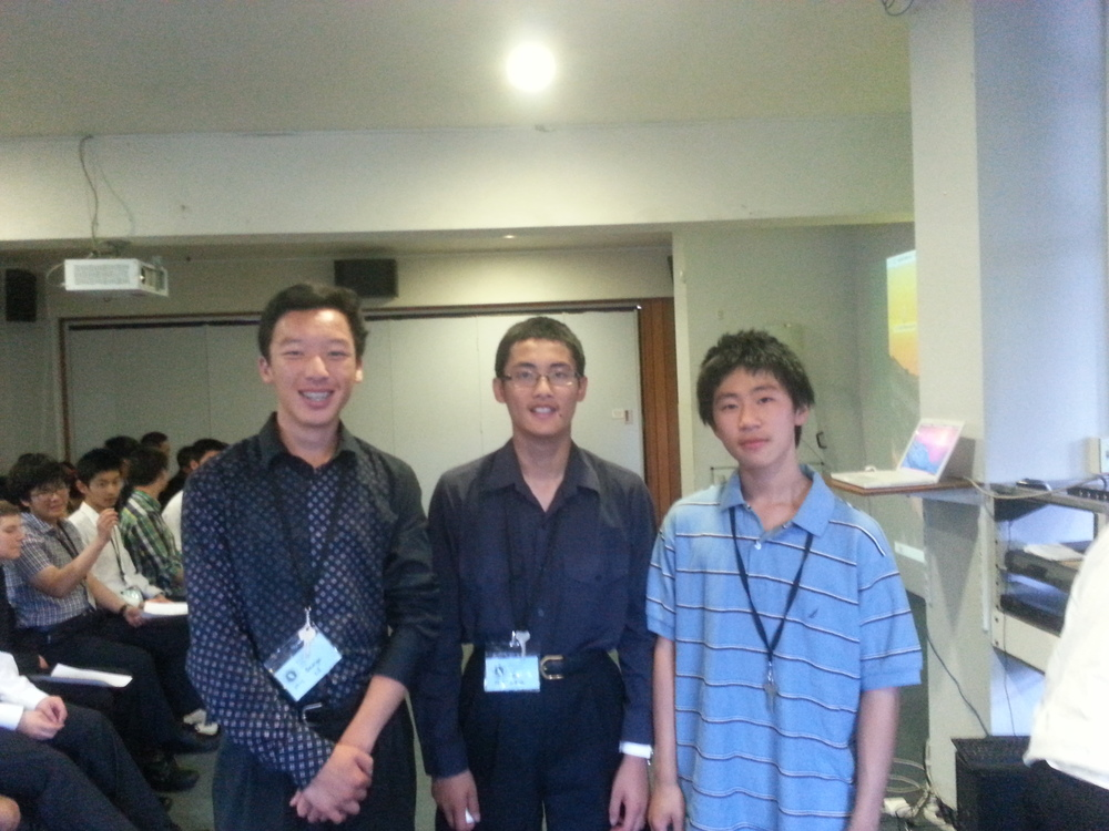 Seventh in the puzzle competition (from left: George Li, Tony Wang, Brian Qi)