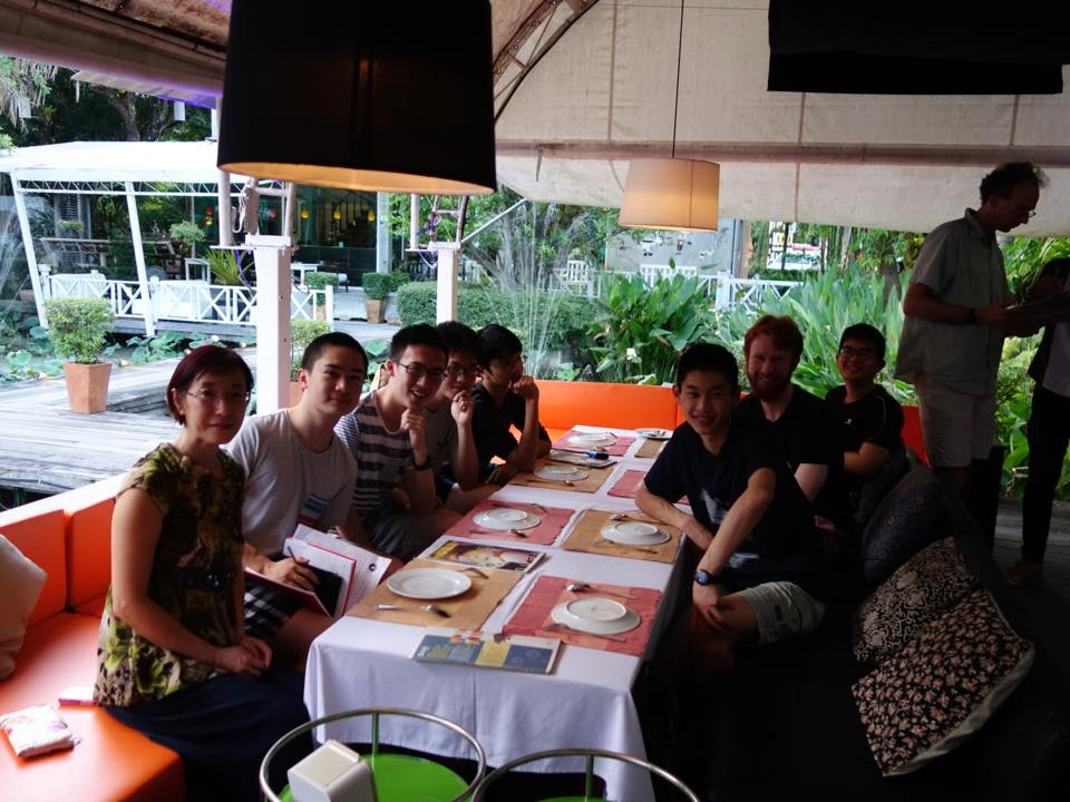 AtMok Mol – the team having their first Thai dinner. From left to right, May Meng (team manager), Miles Lee, Martin Luk, George Han, Prince Michael Balanay, Kevin Shen, Malcolm Granville (deputy leader), Xuzhi Zhang, and standing up is DrChris Tuffley (team leader).