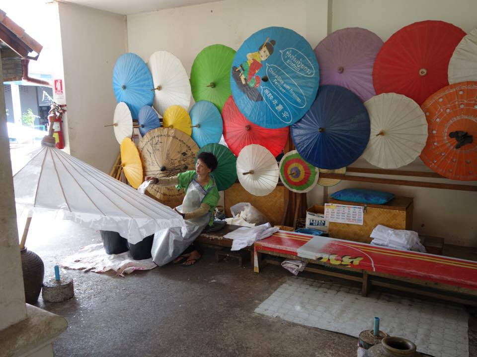 Exploring a paper umbrella-making factory. Everything you see herewas hand-made!