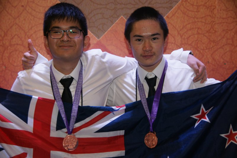 Xuzhi Zhang and Miles Lee with their Bronze medals