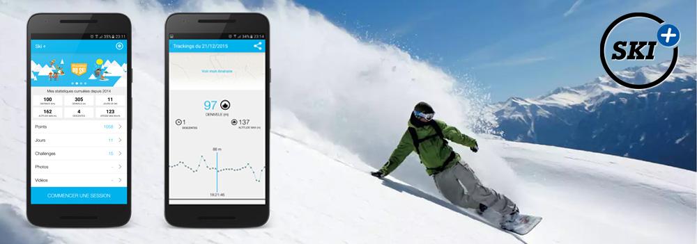 Ski+ : Reprise de l'existant, développement de la partie sociale, amis facebook, messagerie, localisation des amis sur une carte
