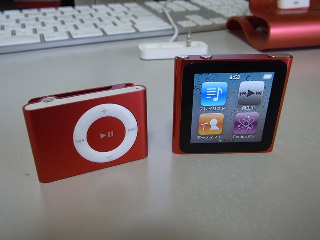 An iPod shuffle versus the iPod Nano - Taken from Flickr - user  https://www.flickr.com/photos/onihisho/