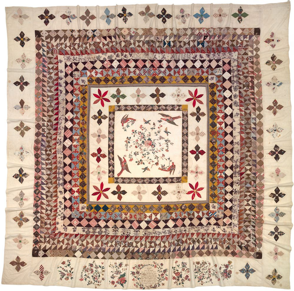 The Rajah quilt  1841, This quilt is an important example of the work British women did on board the Rajah en-route to Hobart. Collection of the National Gallery of Australia. Gift of Les Hollings and the Australian Textiles Fund 1989.