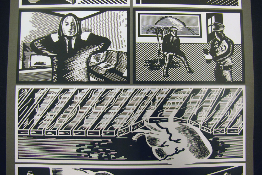 "Panels from Josh Cartwright's black and white storyboard of ""The Tell-Tale Heart."""