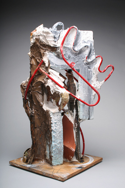 Kesiye , 2011 Plaster, clay, metal, wood, foam, wax, found objects, acrylic paint, and resin 12 x 12 x 26 inches