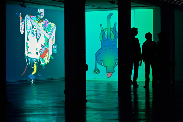 Future Creatures   Animation  Exhibition View at Akademie Schloss, Stuttgart, Germany. 2011