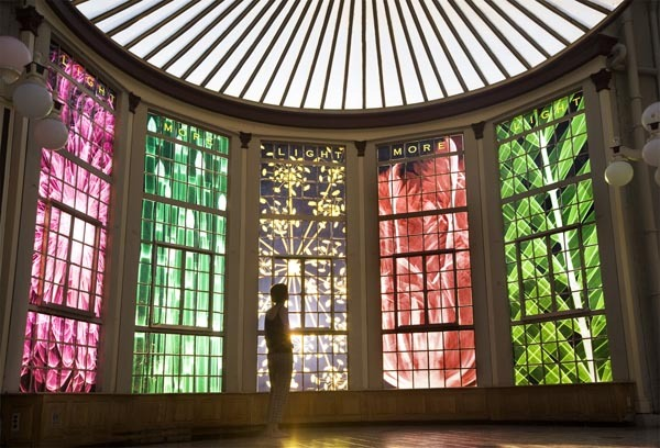 Light, More Light , 2008 Duraclear, 5 Windows 13' x 4' each  Installation View, Interior Vanderbilt, Conservatory, Oakdale NY