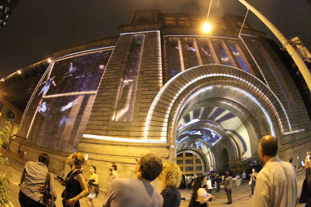 Immersive Surfaces , 2011 Video Mapping Project, 30,000 square feet Collaborative project for Dumbo Arts Festival 2011