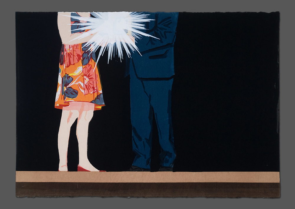 "The Award Ceremony  (Plus Still-life with Podium, Banner and Professional Flower Arrangement) Part 2, 2014  Screenprint on Japanese paper  25"" x 36"""