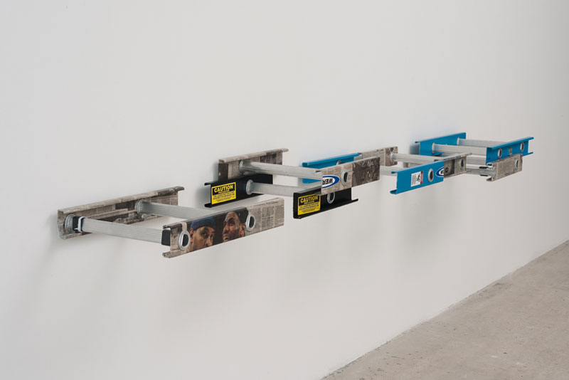 Untitled, 2013  mixed media on ladder sections.  dimensions variable