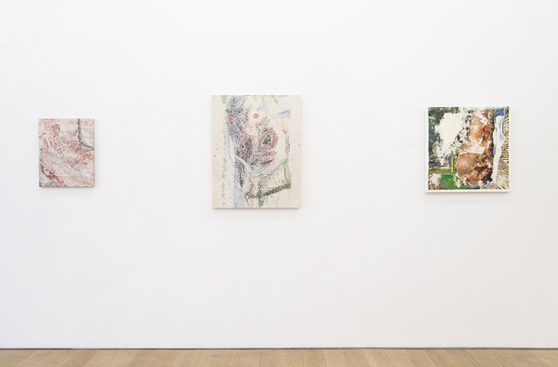 "Installation View, Marlborough Broome St. Gallery, New York, NY. 2014 left to right:   Laundered Painting (20x16) I , 2014, painting on canvas. 20""x16""   Laundered Painting (33x26) I , 2014, painting on canvas. 33""x26""   Laundered Painting (25x25) II , 2014, painting on canvas. 25""x25"""