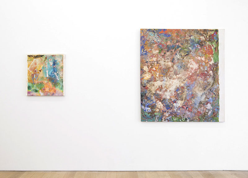 "Installation View, Marlborough Broome St. Gallery, New York, NY. 2014 left to right:   Laundered Painting (25x23) II , 2014, painting on canvas. 25""x23""   Laundered Painting (54x48) I , 2014, painting on canvas. 54""x48"""