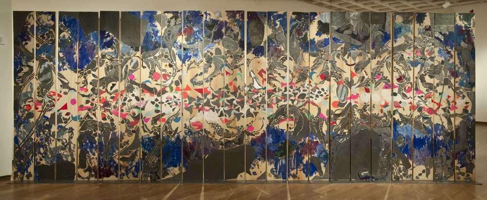 "Maimonides' Wall,  2015 Wood panels, lead, acrylic, coins, ceramic, mylar, glass turtle shell, aluminum tape, nail, UV film, acrylic medium, watercolor and paper 96"" x 260"" x 12"""