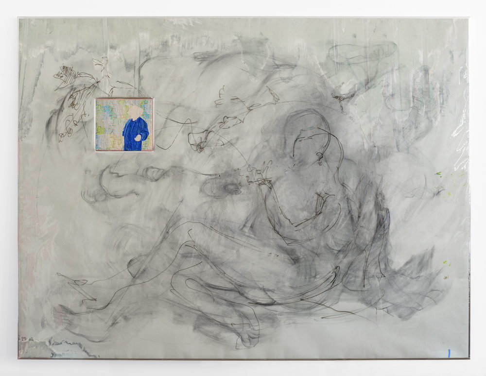 "Second Day,  2015 Charcoal, sharpie, aluminum tape, paper, UV film, fabric, acrylic and linen on wood panel 73"" x 96"""