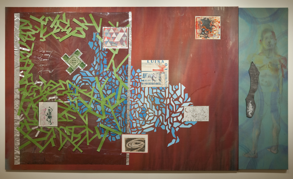 "Alphonso in Exile,  2015 UV film, aluminum tape, linen, paper, acrylic, collage and tiles on wood stretcher and oil linen with metal 84"" x 145"""