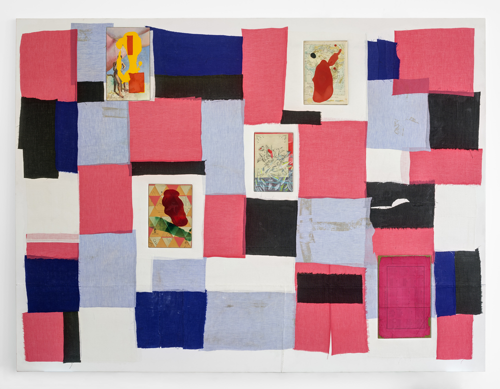 "Siete Partidas , 2015 Linen, acrylic and collage on wood 72 1/8"" x 96 3/8"""