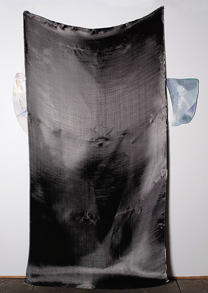 Untitled #8.   carbon fiber and oil on canvas. dimensions variable