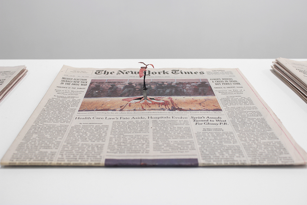 "Minding My Own Business (The New York Times, June 11,  2012), 2015 newspapers, wire, glue 0.5"" x 11.5"" x 12.25"" Detail   View from The Simple Truth exhibition, 2015, Josée Bienvenu Gallery, New York, NY Photograph Courtesy of Josée Bienvenu Gallery, New York, NY (EFA thumbnail image is detail of this work, Photograph Courtesy of Josée Bienvenu Gallery, New York, NY)"