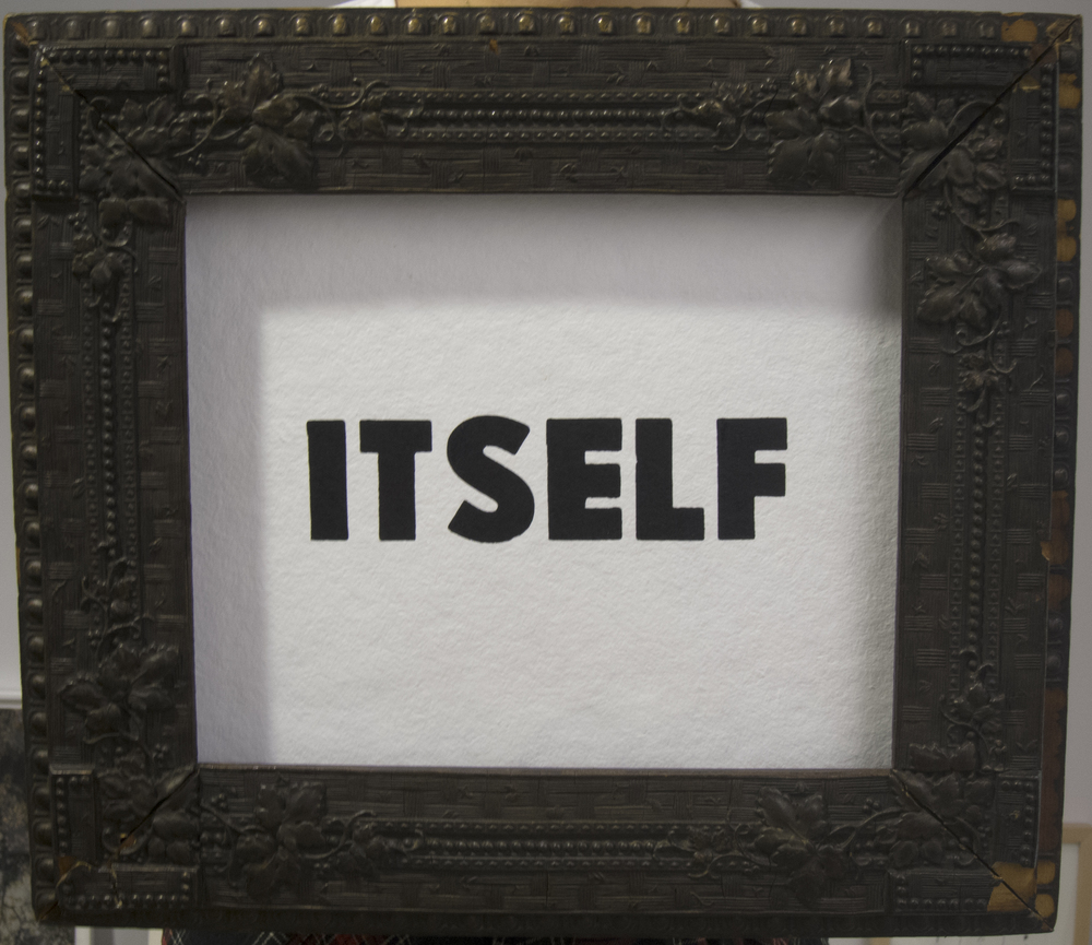 "Morgan O'Hara ITSELF letter press on handmade paper, antique frame (wooden) 14"" x 18"" Feb. 4th, 2016"